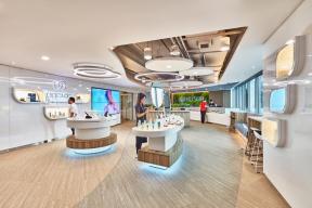如新保健品新加坡体验中心展厅空间设计,以科技和互动元素使品牌栩栩如生