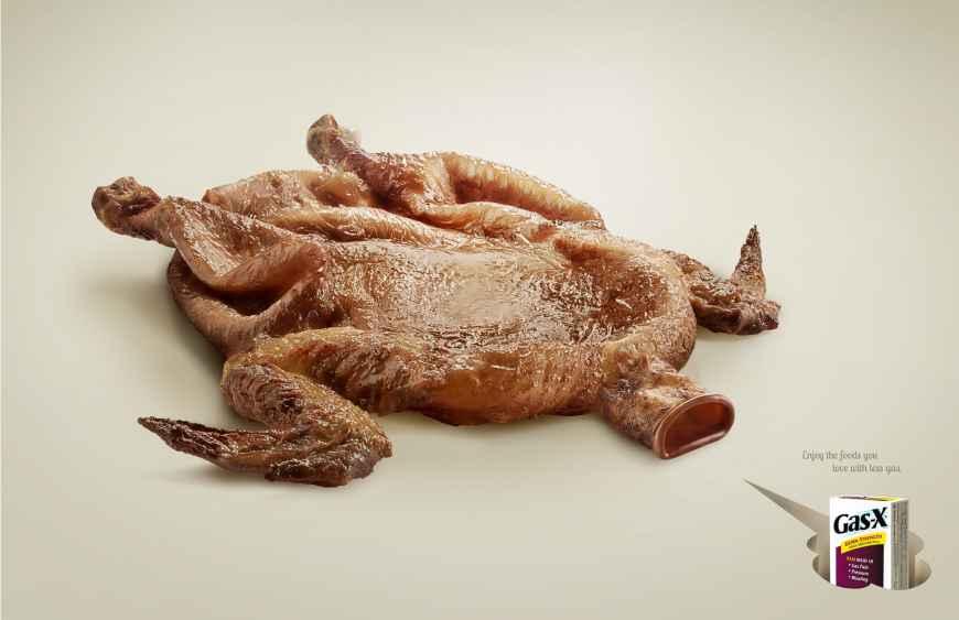 gas-x药品治疗腹胀平面广告创意设计(烤鸡篇)——尚略中国品牌策划与图片