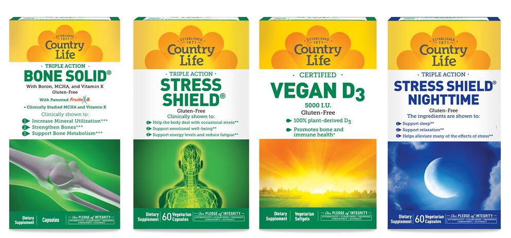 上海包装设计公司推荐:Country Life 营养补充剂维生素钙片保健品包装设计4-外盒包装设计