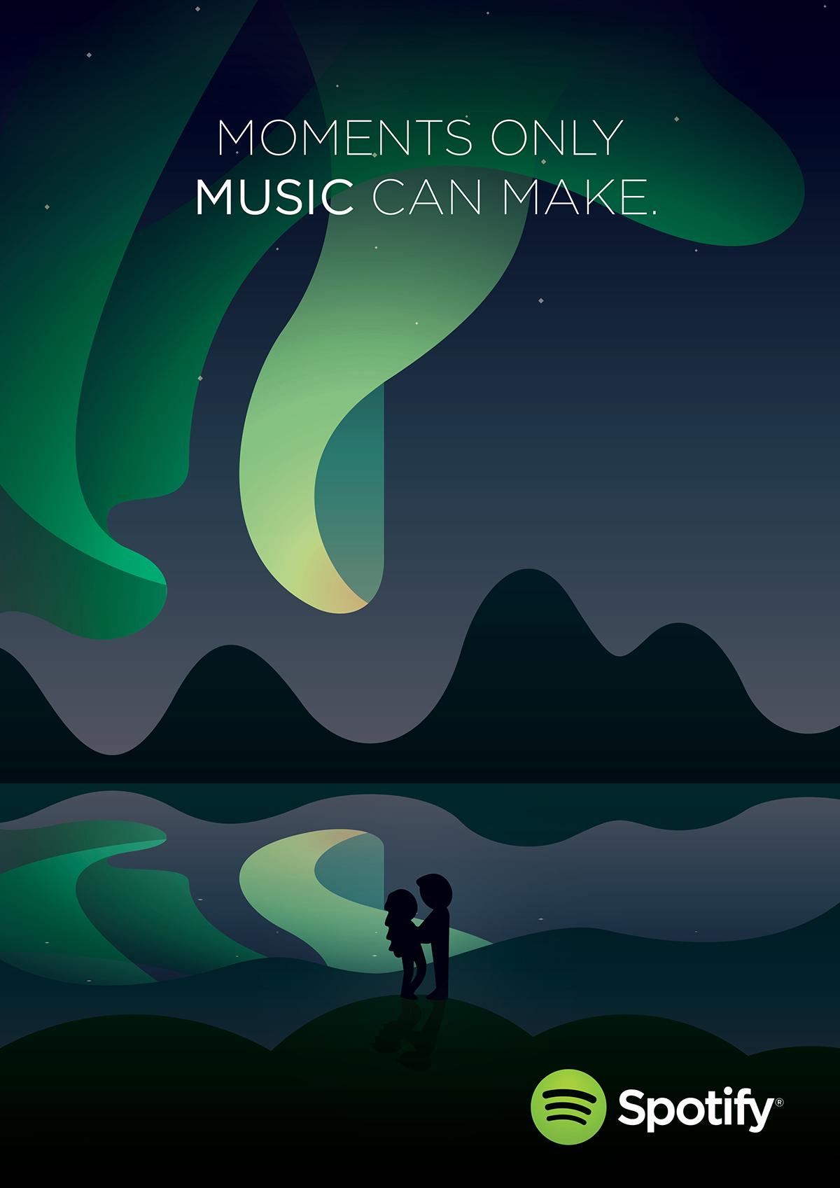 spotify音乐网站平台手绘矢量插画广告海报设计