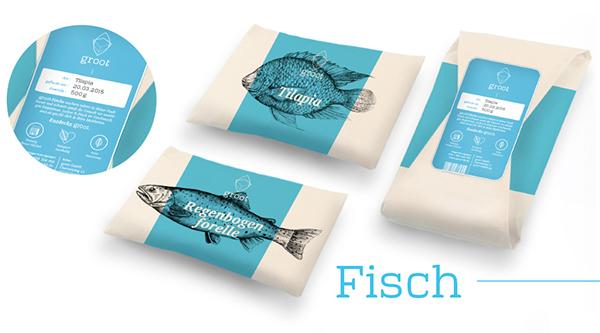 groot 有机农场品牌形象设计-鱼产品包装设计