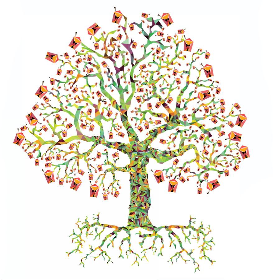 平面手绘树配色
