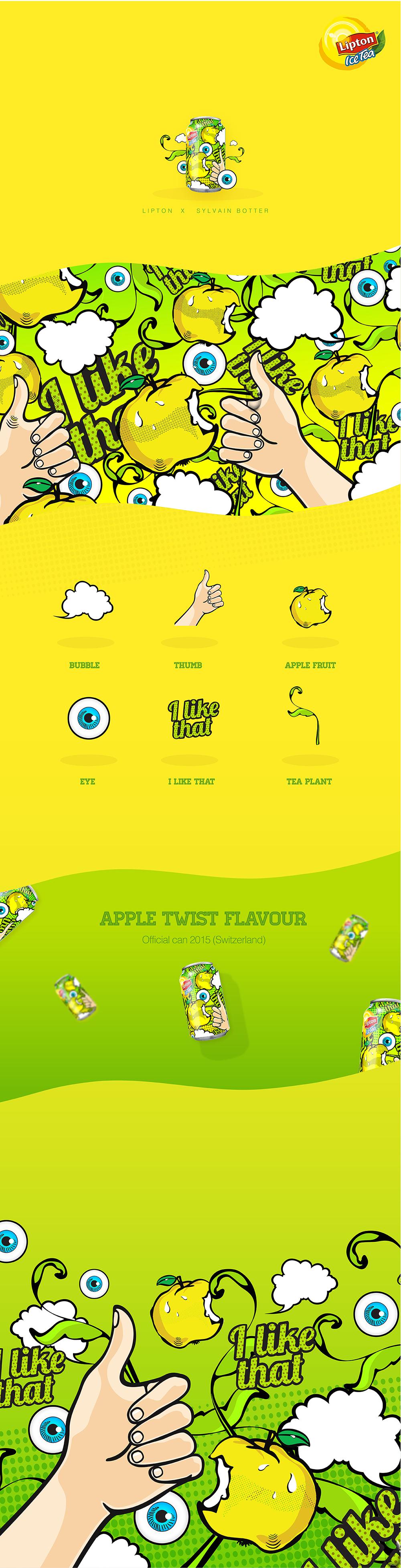 立顿苹果冰茶易拉罐手绘插画包装设计-上海饮料包装设计公司2-设计