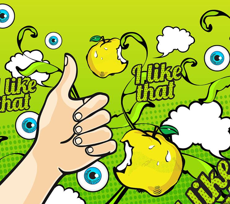 立顿苹果冰茶易拉罐手绘插画包装设计平面标签图案设计1