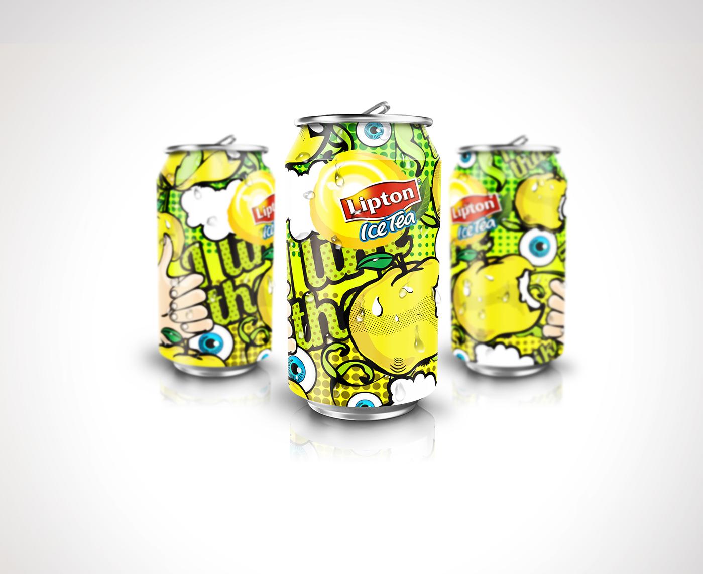 立顿苹果冰茶易拉罐手绘插画包装设计-上海饮料包装设计公司分享0