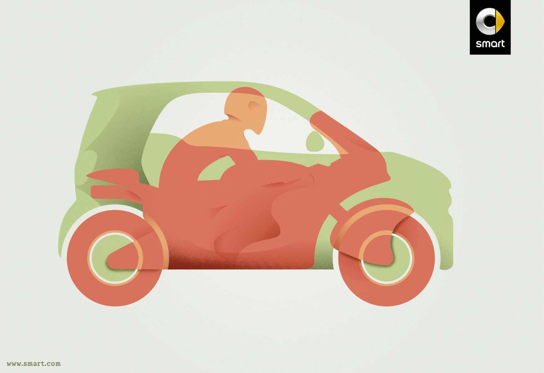 smart 汽车摩托车篇平面创意广告设计图片