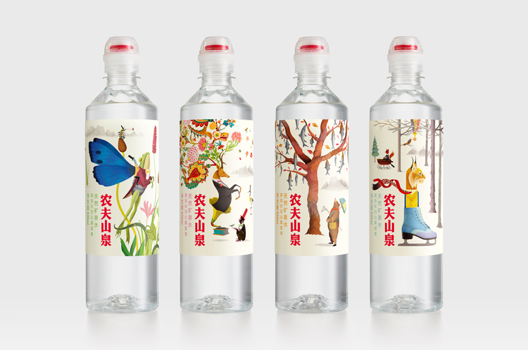 农夫山泉矿泉水长白山四季插图系列包装设计