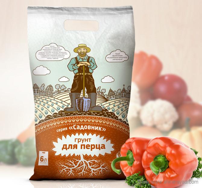 俄罗斯Садовник有机肥料包装设计-上海包装设计公司农业物资包装设计欣赏2-青椒化肥