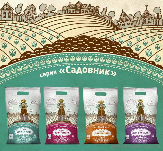 俄罗斯Садовник有机肥料包装设计-上海包装设计公司农业物资包装设计欣赏3