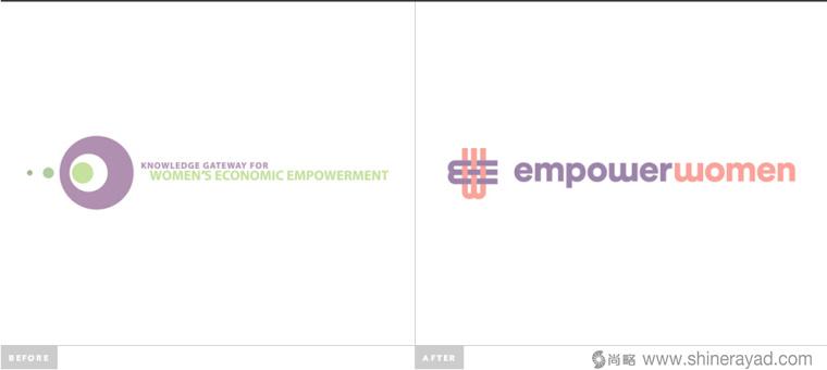 公益机构EmpowerWomen 妇女权益促进会标志设计-新旧标志对比