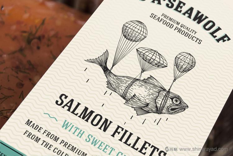 JASeawolf鲑鱼片海鲜产品包装设计(线条插画风格包装设计)
