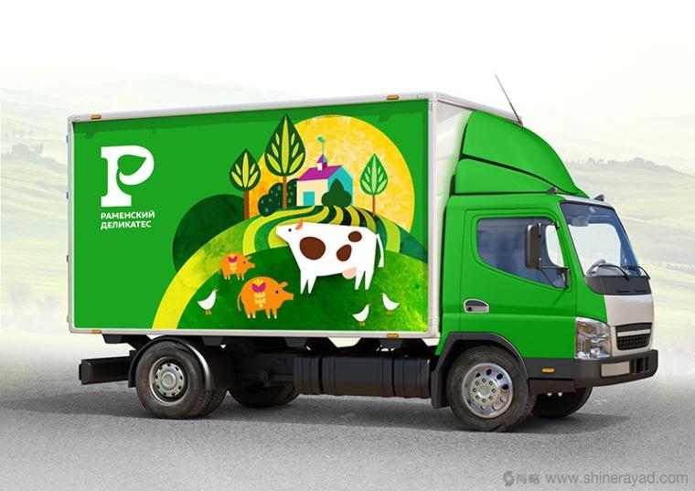 Раменский 俄罗斯火腿肠熟食车体品牌形象设计-农田牛羊插图设计6