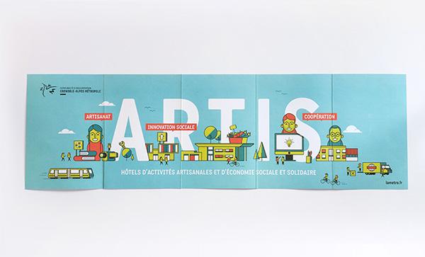 Artis 创新社交网站互联网公司宣传画册设计b扁平化插画风格-上海画册设计公司