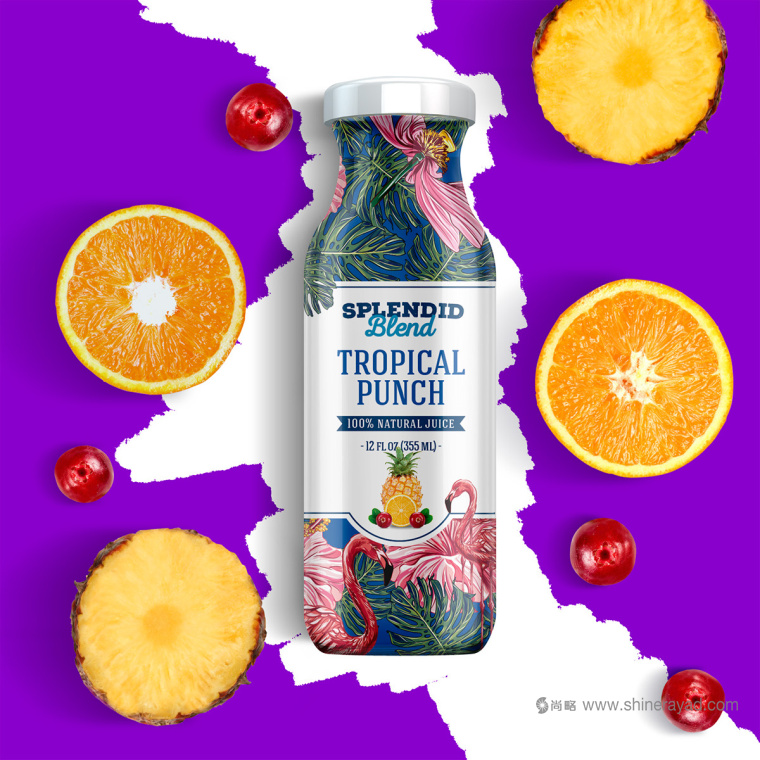 大面积水果插画加留白版式的Splendid 果汁饮料包装fun88乐天使备用作品欣赏