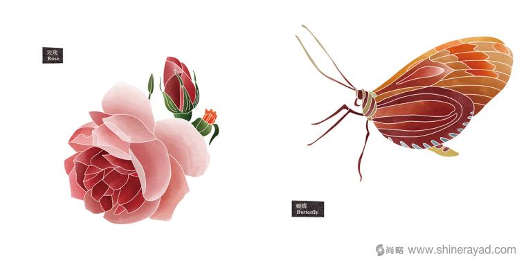 Rosehill 面膜包装插画设计-凉爽玫瑰蝴蝶插画-上海化妆品包装设计公司8