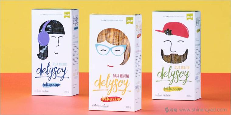 充满俏皮风格的DELYSOY 面条面食包装设计欣赏-上海食品包装设计公司