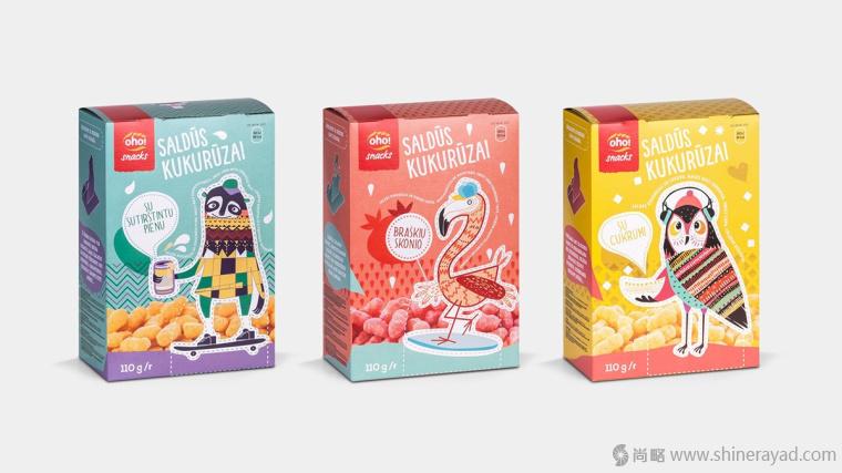 上海包装设计公司欣赏 Oho 儿童休闲零食趣味食品包装设计1