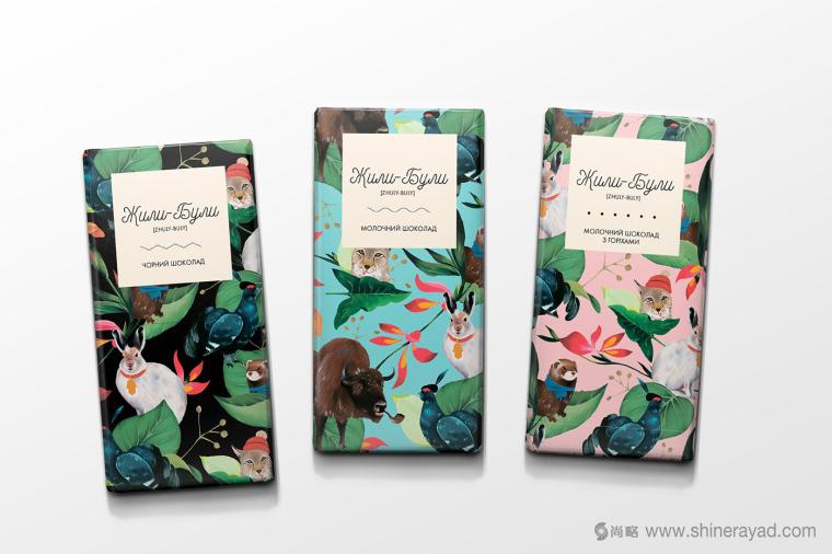 上海包装设计公司分享 Zhuli-Buli 巧克力包装设计/动物花卉插画设计1