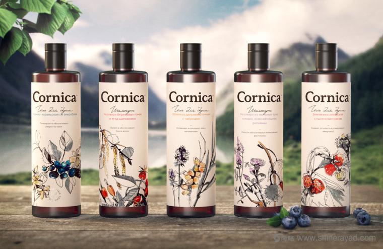 植物素描与水彩插画CORNICA洗发水沐浴露清洁卫生与天然化妆品包装设计-上海包装设计公司9