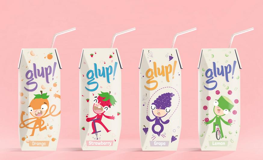 GLUP 儿童果汁饮料包装设计插画设计-上海包装设计公司包装欣赏