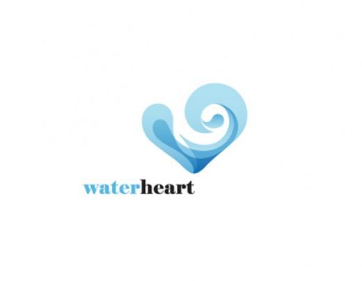 水标志设计图片-水和心-