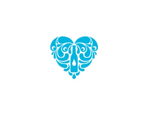 水标志设计图片-矿泉水与心的结合