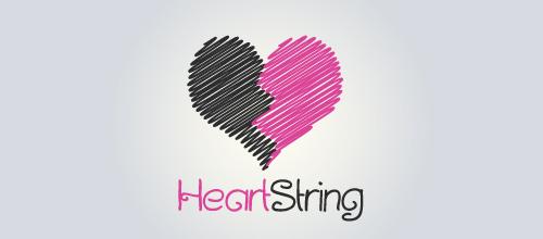 表达爱情爱心的心形logo设计-HEARTSTRING