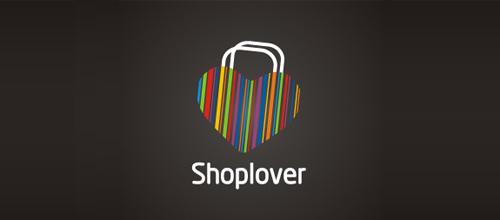 表达爱情爱心的心形logo设计-SHOPLOVER爱心购物