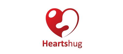 表达爱情爱心的心形logo设计-HEARTS HUG拥抱心