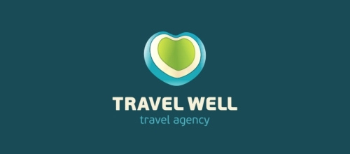 表达爱情爱心的心形logo设计-TRAVEL WELL旅行心LOGO