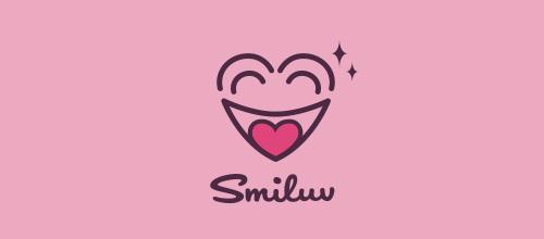 表达爱情爱心的心形logo设计-SMILUV