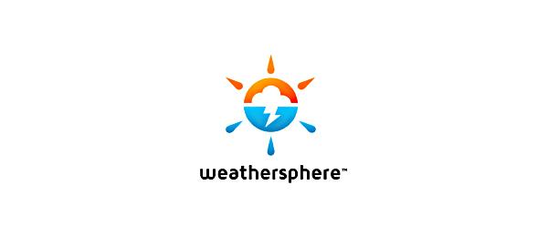 创意太阳logo设计灵感-Weathersphere天气预报logo