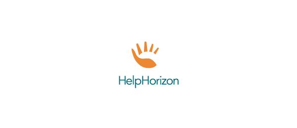 创意太阳logo设计灵感-Help Horizon 手+太阳logo
