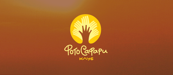 创意太阳logo设计灵感-PhotoSafari俱乐部手+太阳logo设计