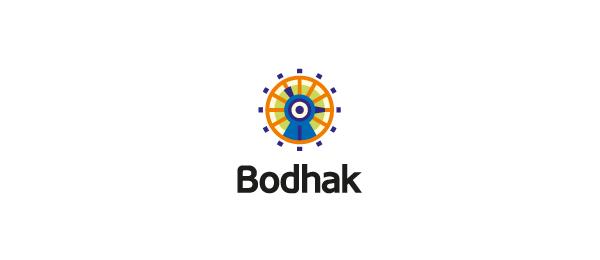 创意太阳logo设计灵感-Bodhak太阳+鸟logo