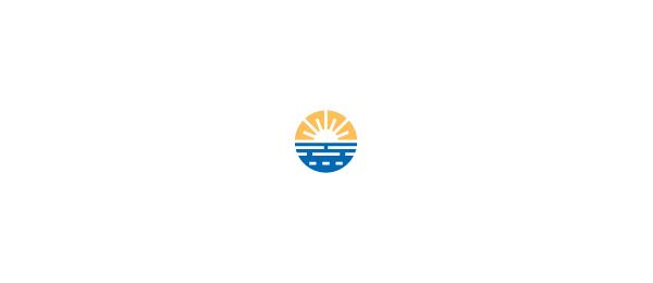 创意太阳logo设计灵感-日落徽标海景