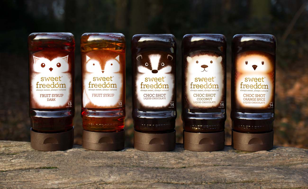 甜蜜的自由天然水果糖浆包装设计,利用动物表现产品适合糖尿病患者的特性