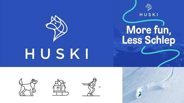 线条化logo设计-Huski(法国滑雪区域派送外卖的在线平台)logo设计