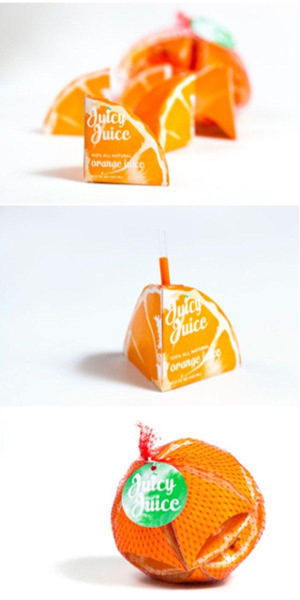 上海包装设计公司分享-50个令人惊叹的疯狂创意包装设计案例-橘子汁包装设计