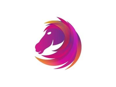 紫色鬃毛的马logo设计