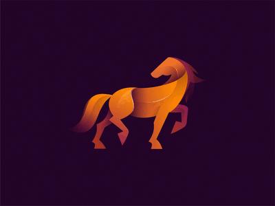 橙色雄伟的马logo设计