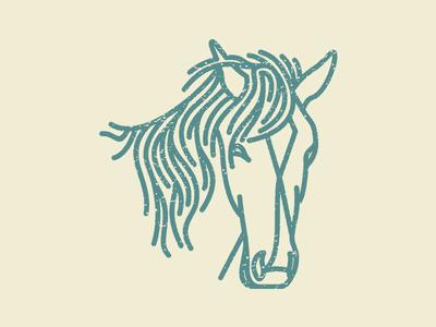 蓝色线条的马logo设计