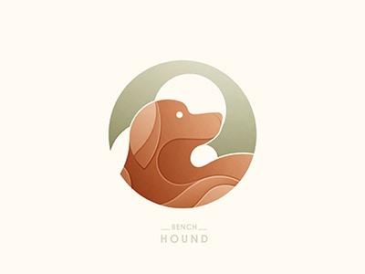 圆形棕色的狗logo设计