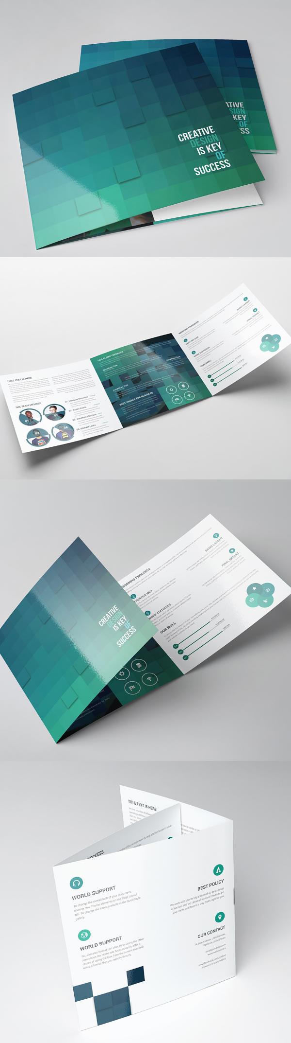 上海画册设计公司创意画册- 横版数字风格三页宣传册设计模板