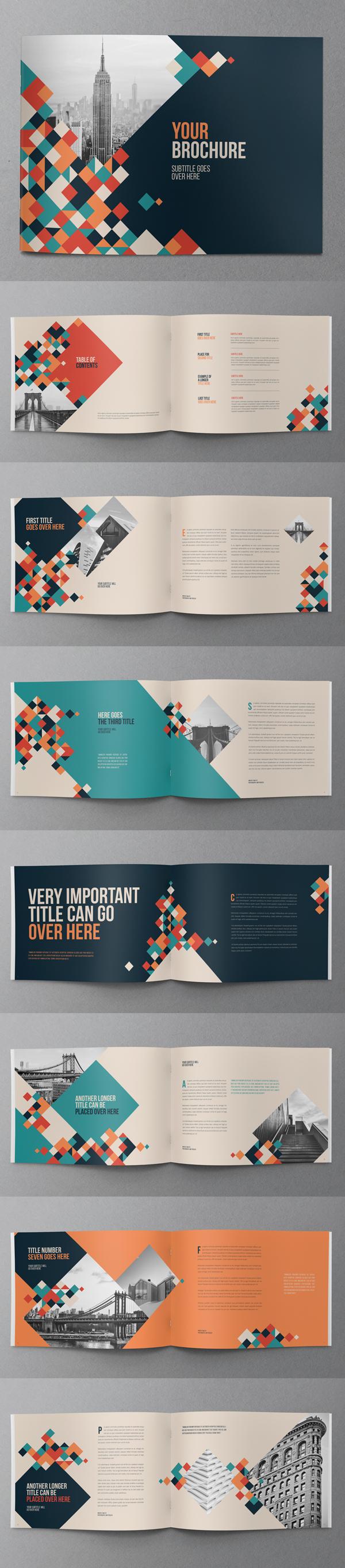 上海画册设计公司创意画册- 创意七彩色块宣传画册设计模版