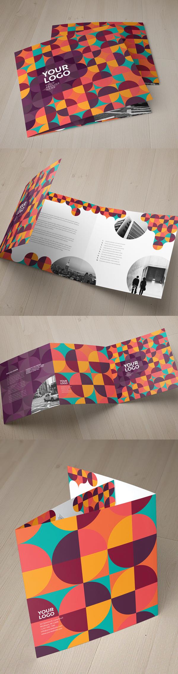 上海画册设计公司创意画册-几何色块七彩图案三折宣传册设计模板