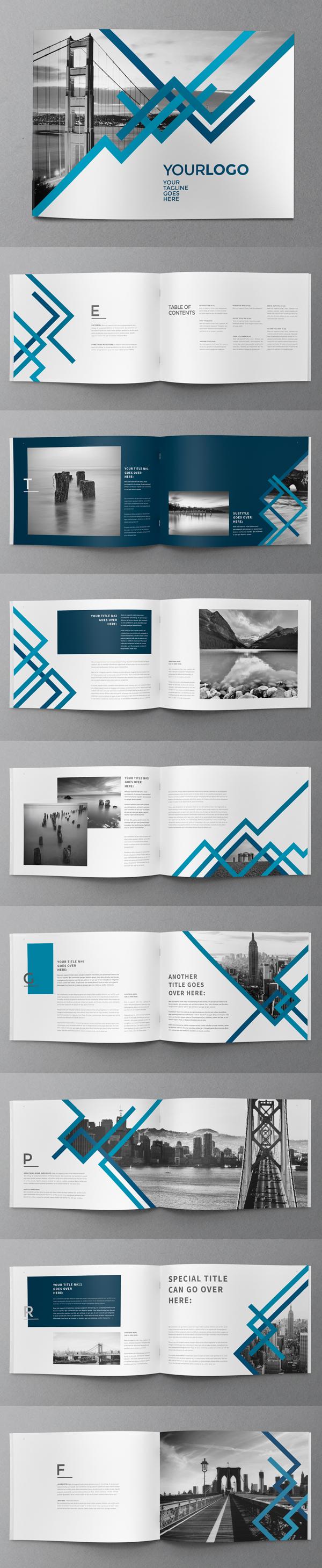 上海画册设计公司创意画册-24P蓝色条纹企业宣传手册设计模板