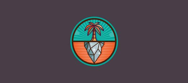 棕榈树对比拼接logo-上海logo设计公司-上海品牌设计公司