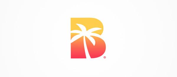 海滩+日落 棕榈树旅游B字母logo-上海logo设计公司-上海品牌设计公司