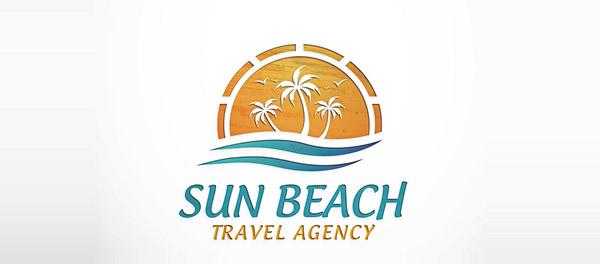 太阳海滩旅游代理公司棕榈树logo-上海logo设计公司-上海品牌设计公司